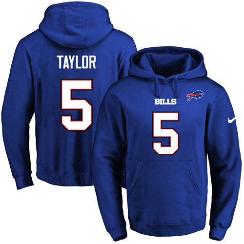 Nike Bills #5 Tyrod Taylor Royal Blue Name & Number Pullover NFL Hoodie