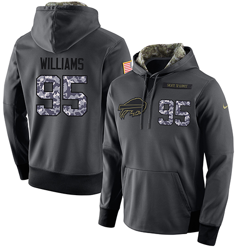 NFL Men's Nike Buffalo Bills #95 Kyle Williams Stitched Black Anthracite Salute to Service Player Performance Hoodie