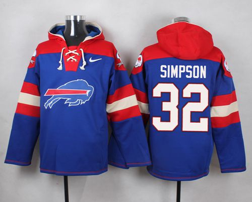 Nike Bills #32 O. J. Simpson Royal Blue Player Pullover NFL Hoodie