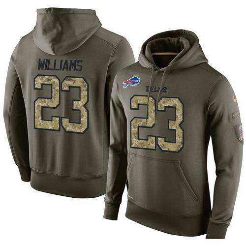 NFL Men's Nike Buffalo Bills #23 Aaron Williams Stitched Green Olive Salute To Service KO Performance Hoodie