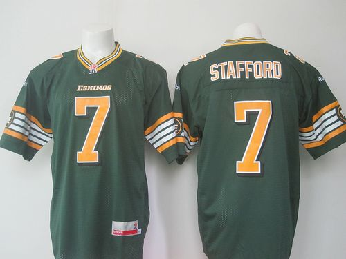 Eskimos #7 Kenny Stafford Green Stitched CFL Jersey