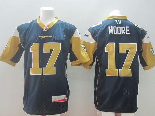 Blue Bombers #17 Nick Moore Navy Blue Stitched CFL Jersey