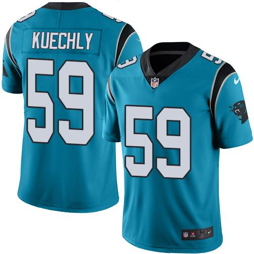 Nike Panthers #59 Luke Kuechly Blue Men's Stitched NFL Limited Rush Jersey