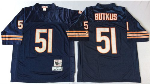 Mitchell&Ness Bears #51 Dick Butkus Blue Small No. Throwback Stitched NFL Jersey