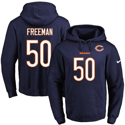 Nike Bears #50 Jerrell Freeman Navy Blue Name & Number Pullover NFL Hoodie