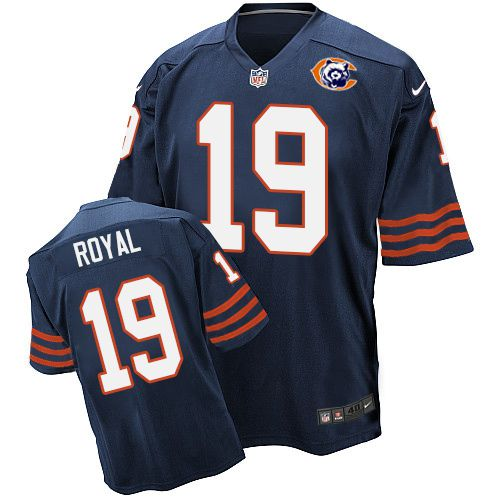 Nike Bears #19 Eddie Royal Navy Blue Throwback Men's Stitched NFL Elite Jersey