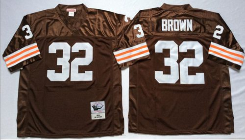 Mitchell And Ness 1963 Browns #32 Jim Brown Brown Throwback Stitched NFL Jersey