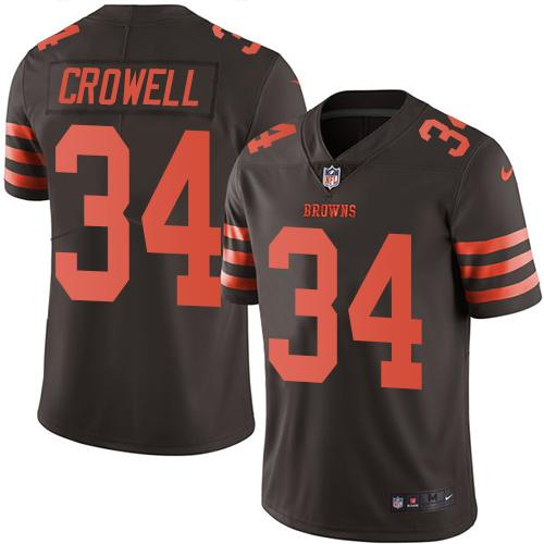 Nike Browns #34 Isaiah Crowell Brown Men's Stitched NFL Limited Rush Jersey