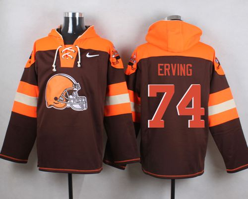 Nike Browns #74 Cameron Erving Brown Player Pullover NFL Hoodie