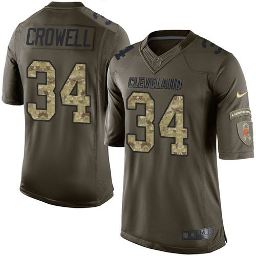 Nike Browns #34 Isaiah Crowell Green Men's Stitched NFL Limited Salute to Service Jersey