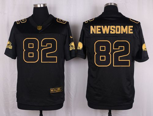 Nike Browns #82 Ozzie Newsome Black Men's Stitched NFL Elite Pro Line Gold Collection Jersey
