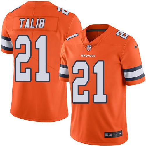 Nike Broncos #21 Aqib Talib Orange Men's Stitched NFL Limited Rush Jersey