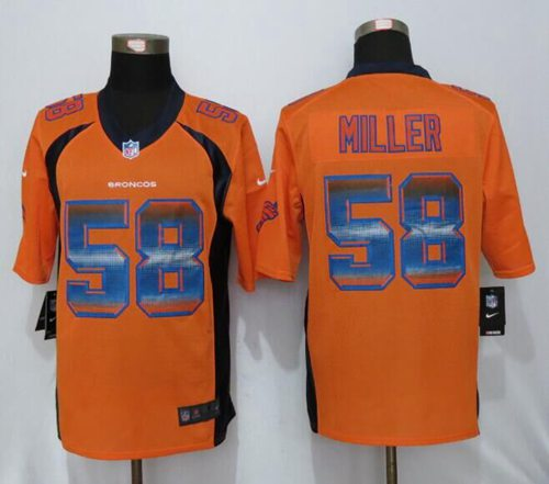 Nike Broncos #58 Von Miller Orange Team Color Men's Stitched NFL Limited Strobe Jersey