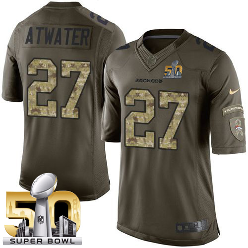 Nike Broncos #27 Steve Atwater Green Super Bowl 50 Men's Stitched NFL Limited Salute To Service Jersey