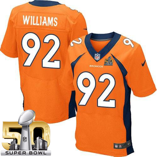 Nike Broncos #92 Sylvester Williams Orange Team Color Super Bowl 50 Men's Stitched NFL New Elite Jersey