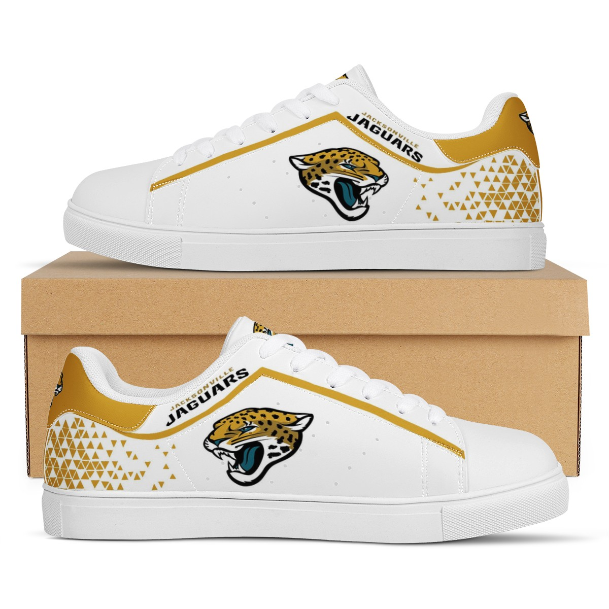 Men's Jacksonville Jaguars Low Top Leather Sneakers 002
