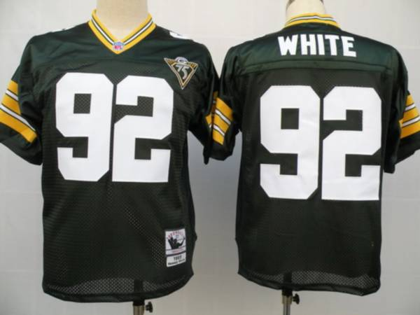 Mitchell & Ness Packers #92 Reggie White Green With 75th Patch Stitched NFL Jersey