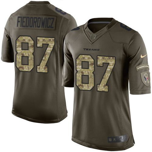 Nike Texans #87 C.J. Fiedorowicz Green Men's Stitched NFL Limited Salute to Service Jersey