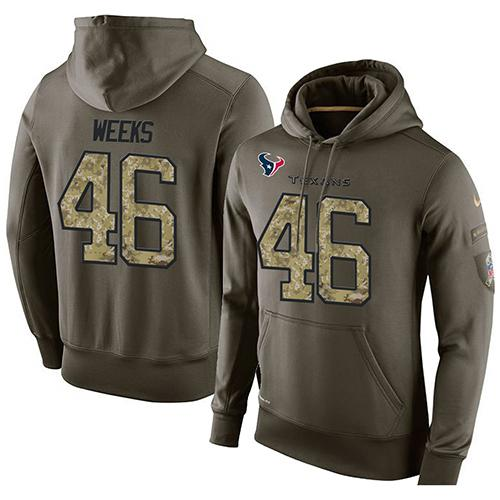 NFL Men's Nike Houston Texans #46 Jon Weeks Stitched Green Olive Salute To Service KO Performance Hoodie