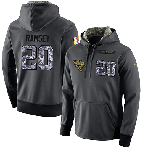 NFL Men's Nike Jacksonville Jaguars #20 Jalen Ramsey Stitched Black Anthracite Salute to Service Player Performance Hoodie