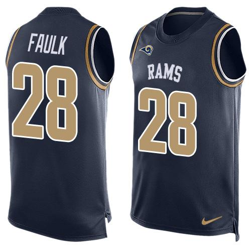 Nike Rams #28 Marshall Faulk Navy Blue Team Color Men's Stitched NFL Limited Tank Top Jersey