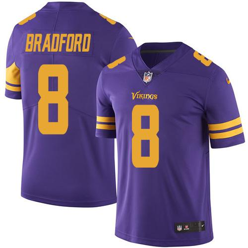 Nike Vikings #8 Sam Bradford Purple Men's Stitched NFL Limited Rush Jersey