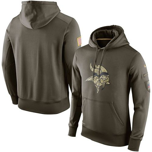 Men's Minnesota Vikings Nike Olive Salute To Service KO Performance Hoodie
