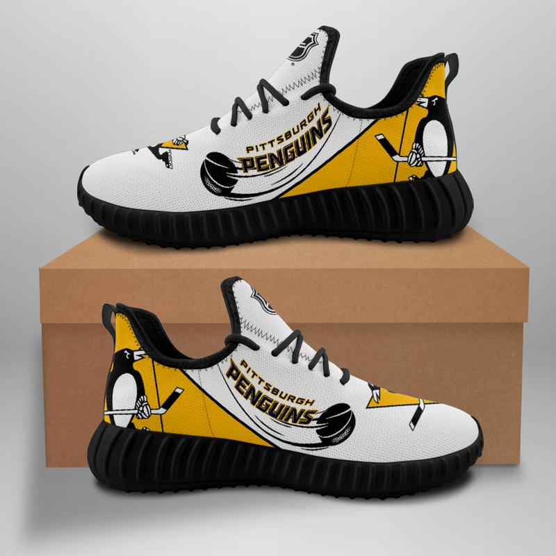 Women's Pittsburgh Penguins Mesh Knit Sneakers/Shoes 004