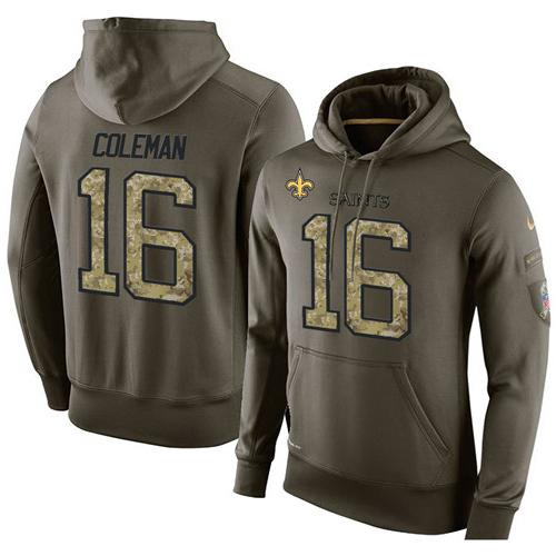 NFL Men's Nike New Orleans Saints #16 Brandon Coleman Stitched Green Olive Salute To Service KO Performance Hoodie