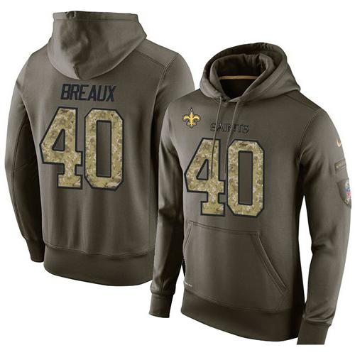 NFL Men's Nike New Orleans Saints #40 Delvin Breaux Stitched Green Olive Salute To Service KO Performance Hoodie