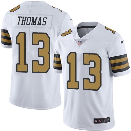 Nike Saints #13 Michael Thomas White Men's Stitched NFL Limited Rush Jersey