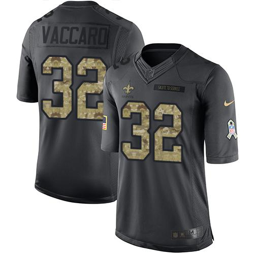 Nike Saints #32 Kenny Vaccaro Black Men's Stitched NFL Limited 2016 Salute To Service Jersey