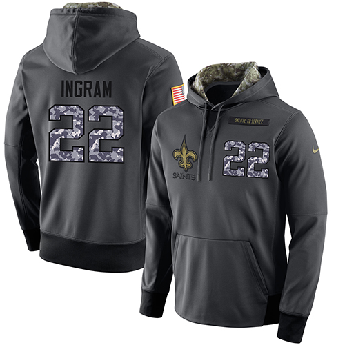 NFL Men's Nike New Orleans Saints #22 Mark Ingram Stitched Black Anthracite Salute to Service Player Performance Hoodie