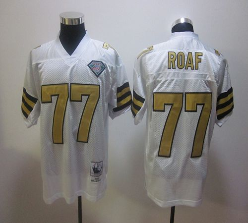 Mitchell And Ness Saints #77 Willie Roaf White Stitched NFL Jersey