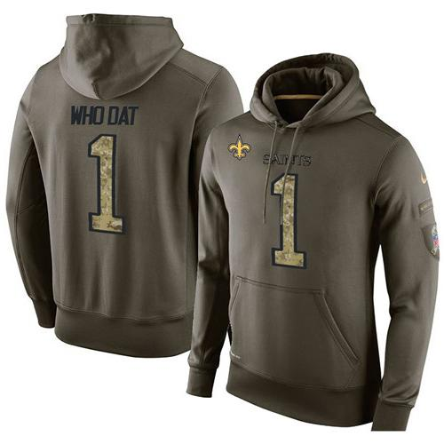 NFL Men's Nike New Orleans Saints #1 Who Dat Stitched Green Olive Salute To Service KO Performance Hoodie