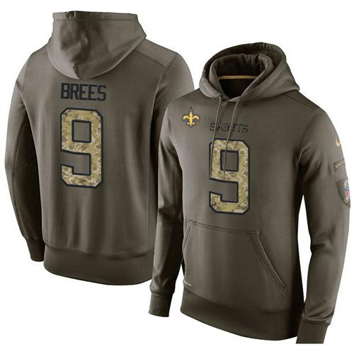 NFL Men's Nike New Orleans Saints #9 Drew Brees Stitched Green Olive Salute To Service KO Performance Hoodie