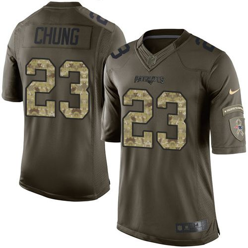 Nike Patriots #23 Patrick Chung Green Men's Stitched NFL Limited Salute to Service Jersey