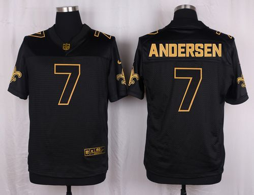 Nike Saints #7 Morten Andersen Black Men's Stitched NFL Elite Pro Line Gold Collection Jersey