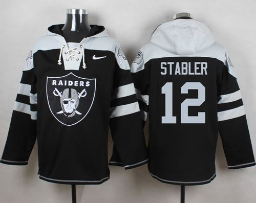 Nike Raiders #12 Kenny Stabler Black Player Pullover NFL Hoodie