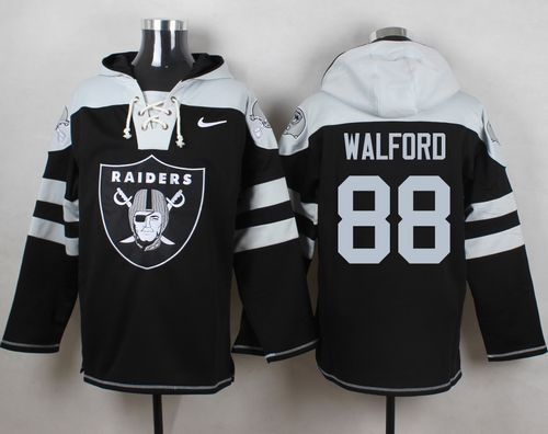 Nike Raiders #88 Clive Walford Black Player Pullover NFL Hoodie