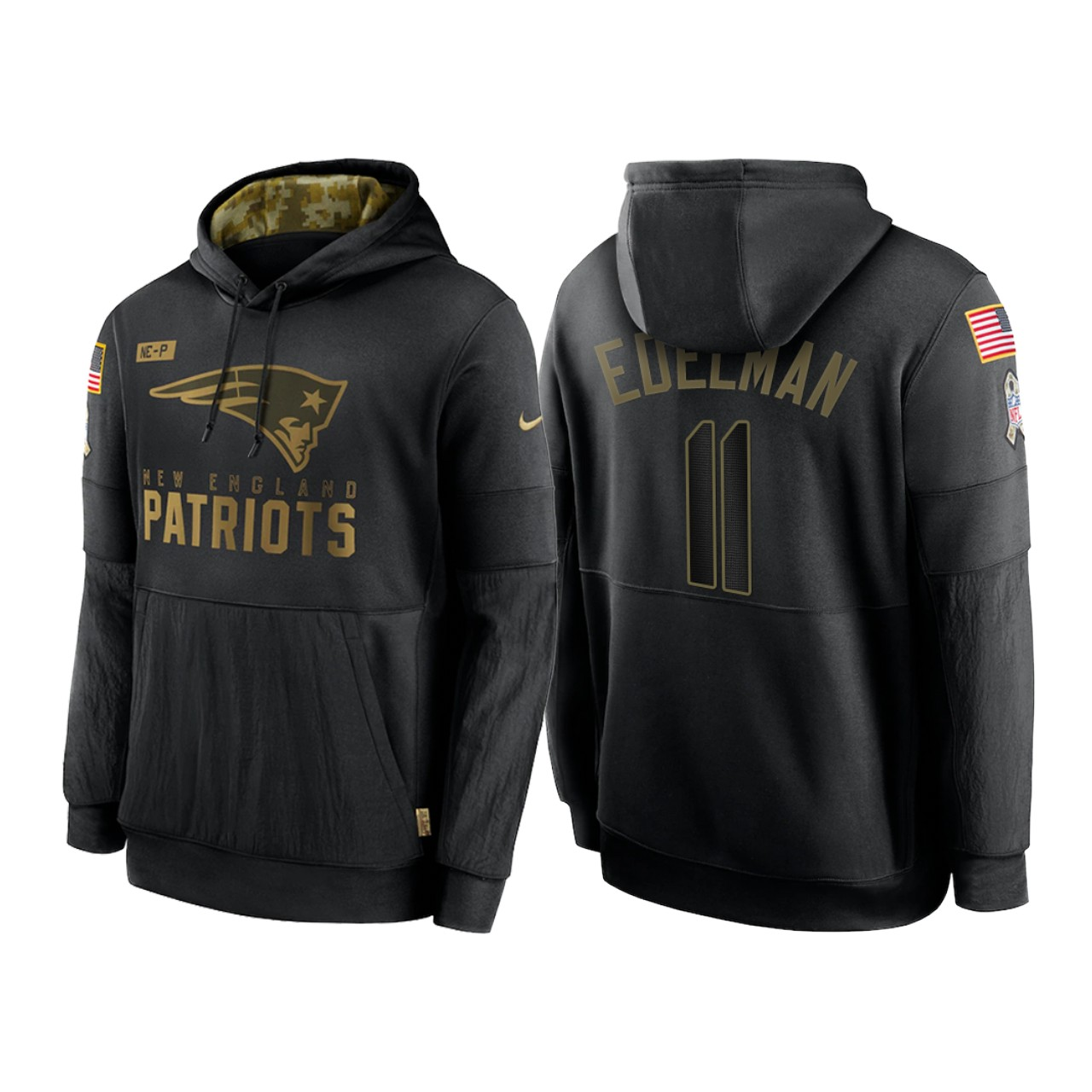 Men's New England Patriots #11 Julian Edelman 2020 Black Salute to Service Sideline Performance Pullover Hoodie