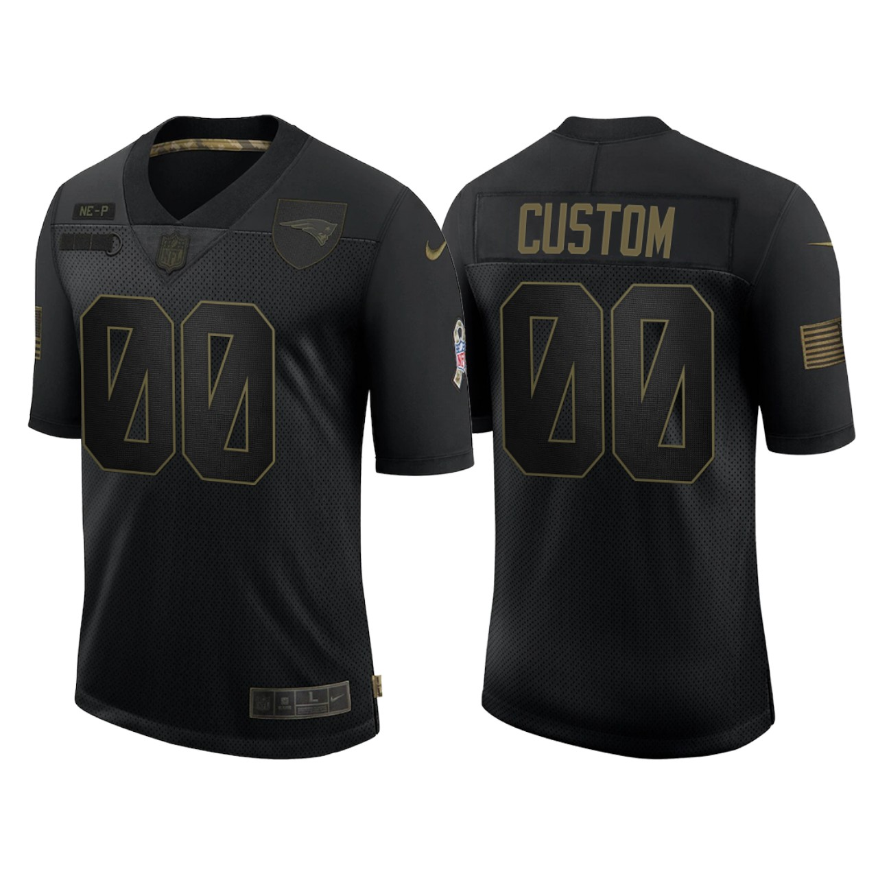 Men's New England Patriots ACTIVE PLAYER Custom 2020 Black Salute To Service Limited Stitched Jersey
