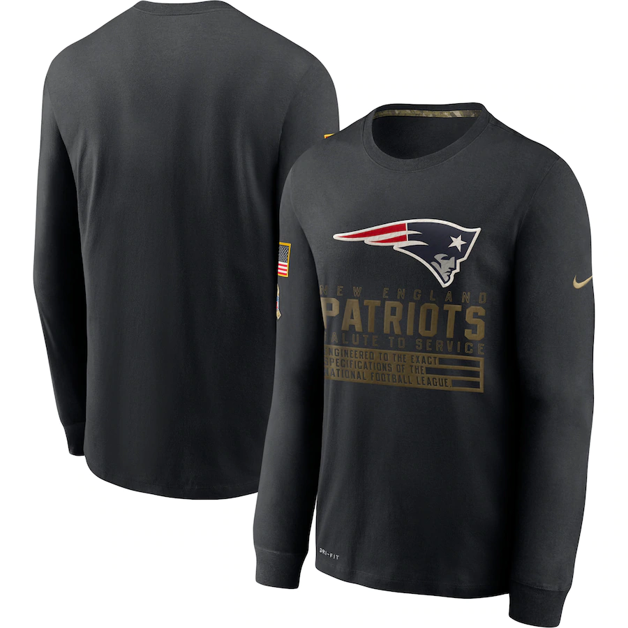 Men's New England Patriots 2020 Black Salute to Service Sideline Performance Long Sleeve T-Shirt