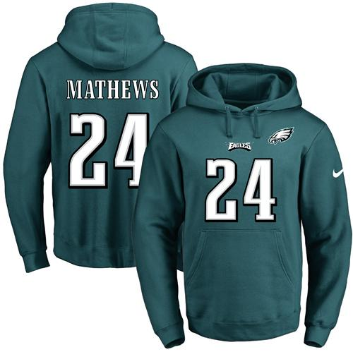 Nike Eagles #24 Ryan Mathews Midnight Green Name & Number Pullover NFL Hoodie