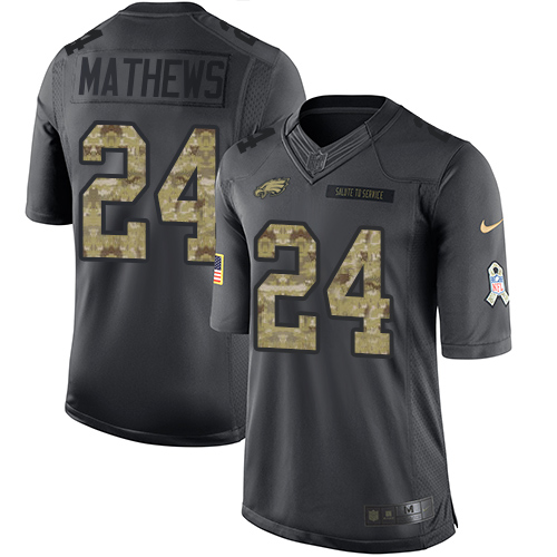 Nike Eagles #24 Ryan Mathews Black Men's Stitched NFL Limited 2016 Salute To Service Jersey