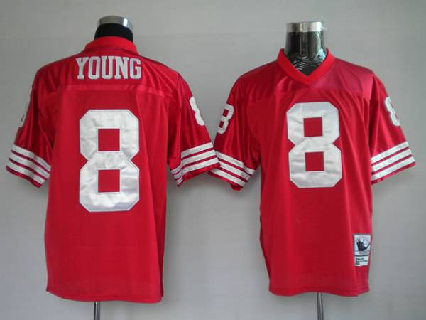 Mitchell and Ness 49ers #8 Steve Young Stitched Red NFL Jersey