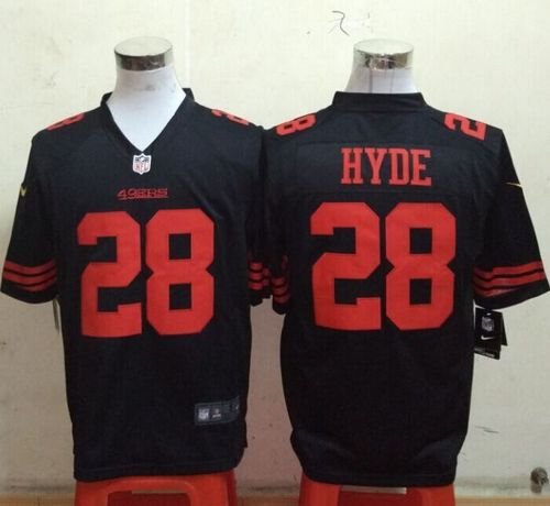 Nike 49ers #28 Carlos Hyde Black Alternate Men's Stitched NFL Game Jersey