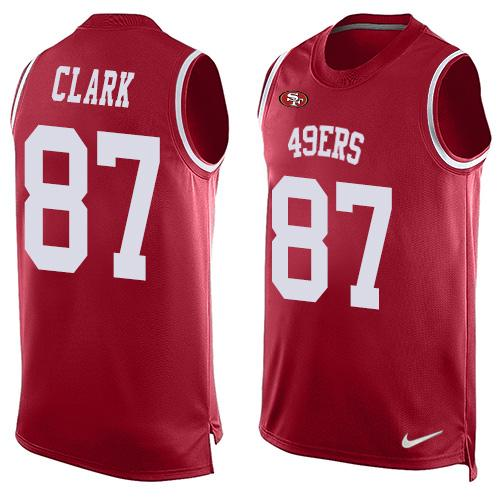 Nike 49ers #87 Dwight Clark Red Team Color Men's Stitched NFL Limited Tank Top Jersey