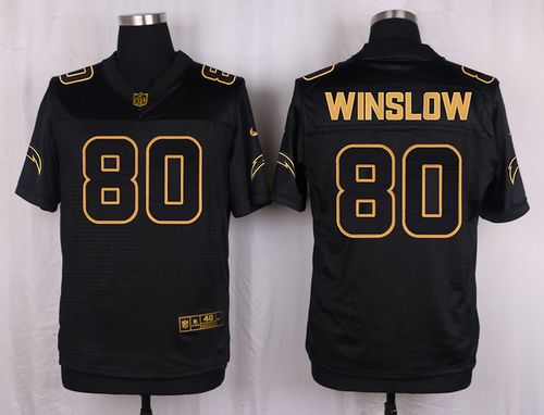 Nike Chargers #80 Kellen Winslow Black Men's Stitched NFL Elite Pro Line Gold Collection Jersey