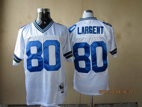 Mitchell & Ness Seahawks #80 Steve Largent White Throwback Stitched NFL Jersey